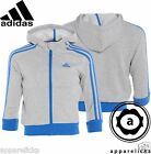 Adidas Junior Boys LK Essential 3Stripe Full-Zip Hood Grey Blue All Sizes X27752