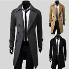Men's Slim Fit Double Breaste Blazer Jackets Windbreaker Indie Trench Outerwear