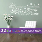 Life Takes You To Places, Love Brings Home Family Quote Wall Art Sticker Decal