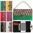 Glossy Enamel PU Leather Leopard Skin Handbag Wallet Case Cover For iPhone 5 5S