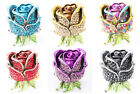 Retro Unique Rose Flower Crystal Rhinestone Studded Stretchy Ring Charm Jewelry