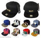 NEW 7 PANEL SNAPBACK CAP PLAIN BASEBALL STRAPBACK FITTED BLACK FLAT PEAK HAT