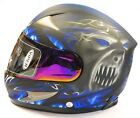 VIPER RS-44 / RS-220 DEMON SKULL, MATT BLACK, WHITE MOTORCYCLE MOTORBIKE HELMET