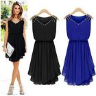 POP Women Sexy Sleeveless Diamond Pleated Party Cocktail Chiffon Mini Dress -LJ