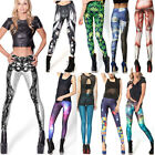 Top Hot Sexy Galaxy Printed Tights/ High Waist Faux Leather Jeans Leggings Pants