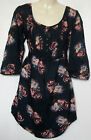 NEW LADIES FAT FACE NAVY BLUE FLORAL PRINT TUNIC TOP SUIZE 12 - 14 BNWOT