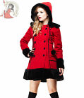 HELL BUNNY fur winter SARAH JANE hood COAT jacket RED