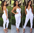 Women Sexy V-neck Bodycon Bandage Strapless Slim Waist Exposed Bandeau Jumpsuits