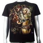 Skull Gangster Magnum Revolver Gun Sexy Pin Up Tattoo Girl Mens T-shirt M & L