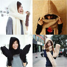 Fashion Winter Warm Women Girl Solid Color Cashmere Plush Hooded Hat Cap Scarves