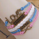 vogue letters multilayer leather weaves infinity charm jewelry bracelet