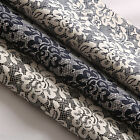 Flowers Lace Effect Floral 100% Cotton Poplin Fabric Material Black Blue Navy 44