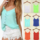 Women Lady Short Basic Camisole Singlet Causal Wear T-shirt Vest XS S M L XL XXL