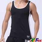 Mens Muscle Ribbed Singlet Shirt Vest Tank Top GYM Sports Run Undershirt T-Shirt