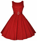 Retro 50's Vintage Button Detail Polka Dot Rockabilly Jive Swing Dress New 8-18