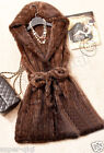 New 100% Real Genuine Knitted Mink Fur Vest Belt Gilet Waiscoat Coat Hoodie Warm