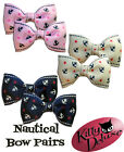 Nautical Bow Pairs by Kitty Deluxe EMO Punk Goth Burlesque Rockabilly Sailor