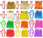 SHORT 40CM HAWAIIAN HULA SKIRT AND 4 PC LEI SET LADIES LUAU FANCY DRESS COSTUME