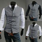 Mens Long Sleeve Luxury Casual Slim Fit Formal Shirt Stylish Dress Shirt Tops
