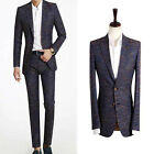 2Piece set- Premium Mens Dress party New pattern check Deep-Blue dandy suits 264