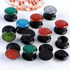 Glitter Acrylic Screwed Ear Tunnel Plugs Flesh Expander Stretcher Pick Colors