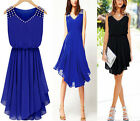 Fashion Womens Slim Sleeveless Chiffon Party Cocktail Pleated Mini Dress Skirt