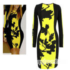 Celeb Floral Ladies Long Sleeve Party Evening Tunic Cocktail Bodycon Mini Dress