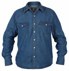 Mens Quality Duke Western Denim Shirt Long Sleeved Stud Fastening 12.5 oz S-6XL