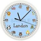 FARM ANIMAL WALL CLOCK PERSONALIZED GIFT NURSERY BABY BOY SHOWER LIGHT BLUE ZOO