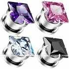 Pair Steel 3-12MM Square CZ Gem Screw Ear Plugs Tunnels Earlets Gauges Expander