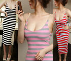 Summer Women Slim Spaghetti Strap Stripe Pub Clubwear Long Dress Beach Sundress