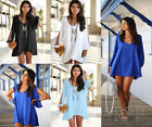 New Sexy Women's Summer Loose V Neck Strapless A-line Casual Skirts Mini Dress