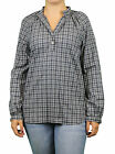 STEVEN ALAN Navy Blue Plaid Stand Collar Tunic Pullover NEW $178