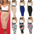 UK Fashion Womens Strappy Contrast Floral Solid Midi Bodycon Pencil Skirt Dress