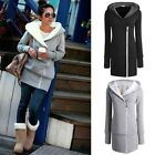 Womens New Double Zip Long Sweatshirt Hoodie Jacket Coat Spring Sweater US 6-20