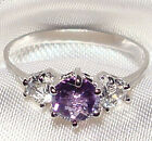 Genuine Faceted Coin Amethyst .925 Sterling Silver Ring -- AM973