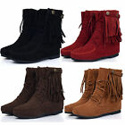 Womens Faux Suede Fringe Tassel Moccasin Shoes Lace up Ankle Boots EU Size 34-43