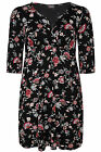 Yoursclothing Womens Plus Size Floral Print Tunic With Wrap Style Front