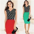 Women Office Lady Career Polka Dot Draped Neck Sleeveless Pencil Bodycon Dress