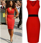 Women Sexy V-neck Celeb Bodycon Cocktail Evening Party Slim Pencil Club Dress