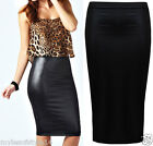 Womens High Waist Wet Leather Look Black Bodycon Knee Length Wiggle Pencil Skirt