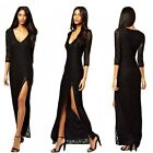 Cocktail Evening Celebrity Lace Thigh Split 3/4 Sleeve Maxi Long Dress Black