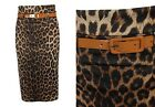 NEW WOMENS BROWN LEOPARD PRINT BELTED WIGGLE BODYCON PENCIL MIDI SKIRT SIZE 8-16