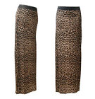 NEW WOMENS BROWN LEOPARD PRINT STRETCHY JERSEY MAXI DRESS SKIRT SIZE 8-20