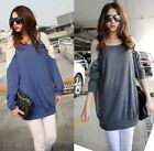 Korean Style Casual Women Lace Batwing Sleeve Loose Fit Long T-shirt Tee Top
