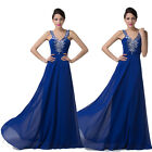 Long Beaded PLeated Wedding Formal Dress Bridesmaid Party Prom Evening Ball Gown