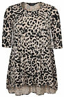 Yoursclothing Womens Plus Size Animal Print Panelled Longline Jersey Top