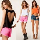 Women Punk Heart Cut Out Back Backless Sleeveless Short T-shirt Crop Tank Top