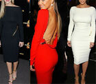 New Womens Sexy Low Back Hollow Backless Party Celeb Cocktail Mini Bodycon Dress