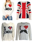 NEW IN LADIES UNION JACK I LOVE LONDON I LOVE MUSTACHE CABLE KNITWEAR JUMPER
